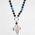 Faceted Black Agate and Blue Agate Pendant Necklace