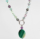 Rainbow Fluorite and Green Agate Pendant Necklace