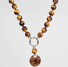 Tiger Eye and Golden Copper Stone Pendant Necklace