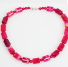 Cylinder Shape Rose Pink Agate Choker Necklace Jewelry