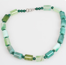 Forma Cilindro Verde Agata Choker Necklace Jewelry