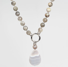Faceted Flashing Stone and Gray Agate Necklace