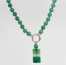 Faceted Round Green Agate Beaded Pendant Necklace