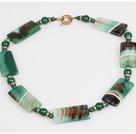 Stripe Green Agate Stone Choker Necklace under $ 40