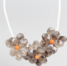 Fashion Style Gray Acrylic Flower Bib Statement Leather Necklace