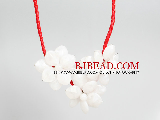 Fashion Style White Acrylic Flower Bib Statement Leather Necklace