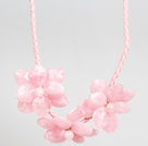 Fashion Style Pink Acrylic Flower Bib Statement Leather Necklace