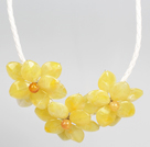 Fashion Style Yellow Acrylic Flower Bib Statement Leather Necklace