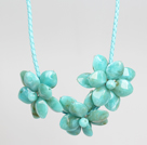 Fashion Style Lake Blue Acrylic Flower Bib Statement Leather Necklace