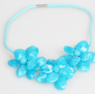 Fashion Style Blue Acrylic Flower Bib Statement Leather Necklace