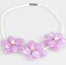 Fashion Style Purple Acrylic Flower Bib Statement Leather Necklace