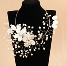 Marvelous Beautiful White Series Natural Freshwater Pearl Shell Flower Woven Party Necklace