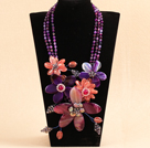 Marvelous Beautiful Pink Purple Crystal Agate Flower Statement Party Necklace