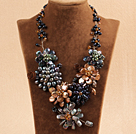 Marvelous Beautiful Multi Color Natural Irregular Shape Pearl Flower Statement Party Necklace under $ 40