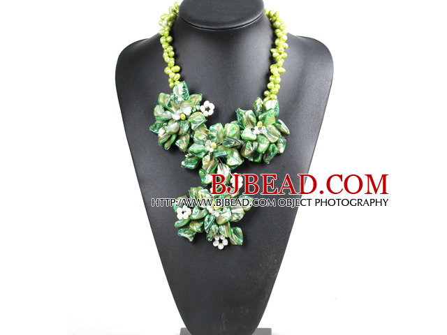 Marvelous Beautiful Green Series Natural Pearl Shell Flower Statement Party Necklace