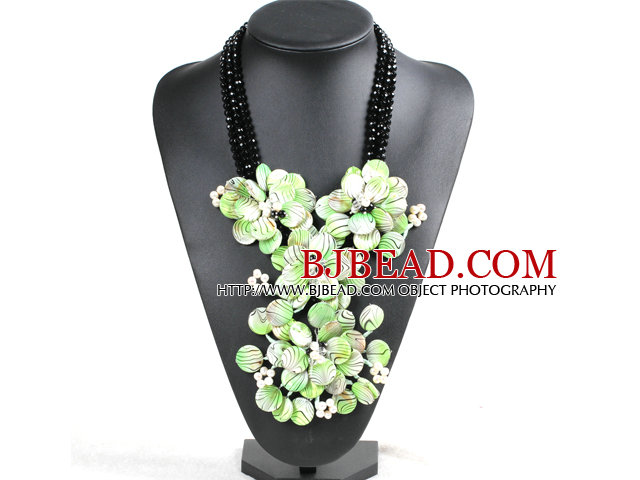 Marvelous Beautiful Black Crystal Beads Natural White Pearl Green Shell Flower Statement Party Necklace