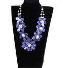 Marvelous Beautiful Natural White Pearl Blue Shell Flower Statement Party Necklace