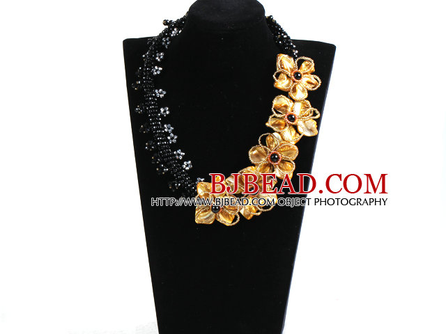 Gorgeous Beautiful Black Crystal Beads Yellow Shell Flower Statement Party Necklace