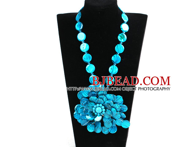 Gorgeous Beautiful Blue Series Painted Shell Flower Statement Party Necklace