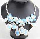Gorgeous Beautiful Natural White Freshwater Pearl Opal Flower Statement Party Necklace