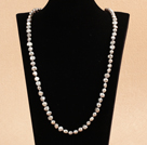 Simple Long Style Natural Gray Potato Shape Pearl Necklace / Sweater Chain