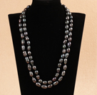 Elegant Long Style Mother Gift 9-10mm Natural Black Freshwater Pearl Necklace / Sweater Chain