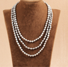 Stylish Elegant Long Style 6-7mm Natural Gray Rice Pearl Party Necklace / Sweater Chain