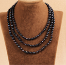 Stylish Elegant Long Style 6-7mm Natural Black Pearl Party Necklace / Sweater Chain
