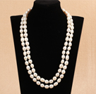 Elegant Long Style Mother Gift 9-10mm Natural White Freshwater Rice Pearl Necklace / Sweater Chain