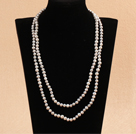 Elegant Long Style Mother Gift 6-7mm Natural Gray Freshwater Pearl Necklace / Sweater Chain