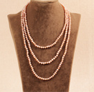Stylish Elegant Long Style 4-5mm Natural Pink Freshwater Pearl Party Necklace / Sweater Chain