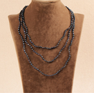 Stylish Elegant Long Style 3-4mm Natural Black Freshwater Pearl Party Necklace / Sweater Chain