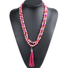 Fashion Hot Sale Potato Shape Natural Pink Rose Red Orange Pearl Long Necklace with Suede Leather Tassel (Tassel Can Be Removed) under $ 40