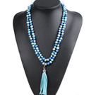 Fashion Hot Sale Potato Shape Natural Blue Series Pearl Long Necklace with Suede Leather Tassel (Tassel Can Be Removed)