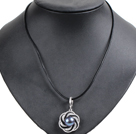 Simple Elegant Natural Big Black Freshwater Pearl Pendant Leather Necklace