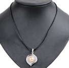 Simple Elegant Natural Big Pink Freshwater Pearl Alloyed Leaf Pendant Leather Necklace