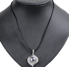 Simple Elegant Natural Big Black Freshwater Pearl Alloyed Leaf Pendant Leather Necklace
