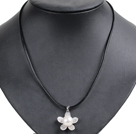 Simple Elegant Natural Big White Freshwater Pearl Flower Pendant Leather Necklace