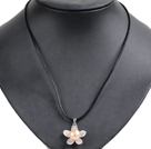 Simple Elegant Natural Big Pink Freshwater Pearl Flower Pendant Leather Necklace