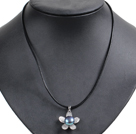 Simple Elegant Natural Big Black Freshwater Pearl Flower Pendant Leather Necklace