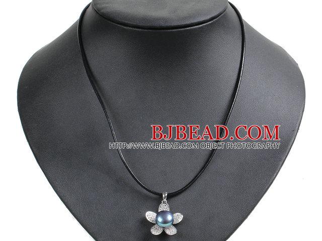Simple Elegant Natural Big Black Freshwater Pearl Flower Pendant Leather Necklace