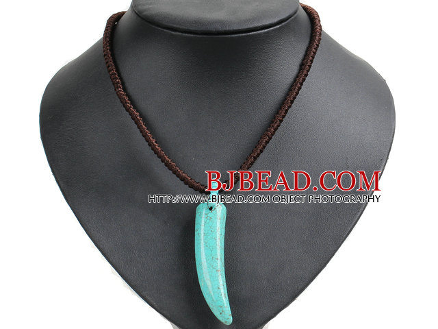 Hot Sale OX Horn Turquoise Hand-Knitted Necklace