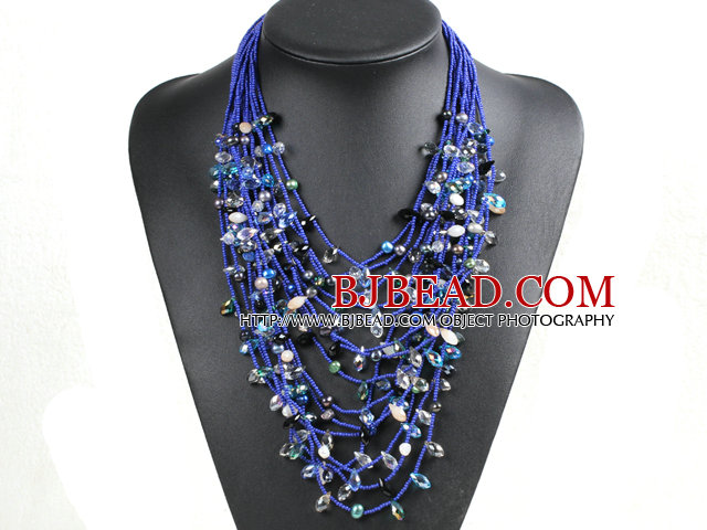 Luxurious Statement 15 Layers Deep Blue Series Crystal Pearl Party Necklace