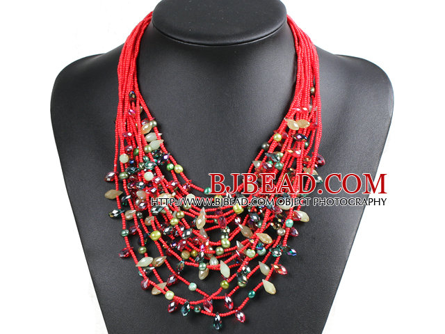 Luxurious Statement 15 Layers Christmas Red & Green Series Crystal Pearl Party Necklace