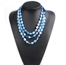 Fabulous Beautiful Party Style 3 Strand Blue Series Crystal Drop Shape Shell Necklace