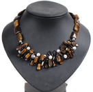 Vintage Style Natural White Freshwater Pearl Teeth & Square Shape Tiger Eye Stone Smoky Quartz Chunky Necklace