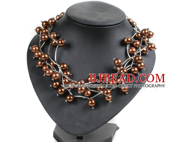 Trendy Style Multi Strand Brown Seashell Beads Twisted Necklace With Bending Alloyed Tube