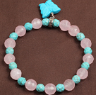 Summer Beach Jewelry Faceted Turquoise Rose Quartz Beads Elastic/ Stretch Bracelet With Butterfly Charm