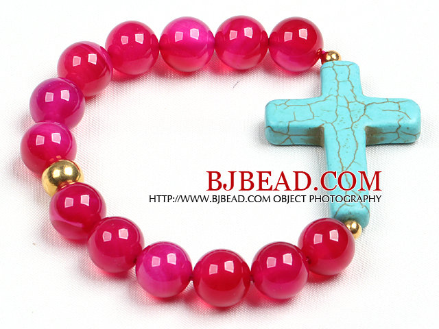 Simple Style Single Strand Rose Red Agate Beads Stretch / Elastic Bracelet With Blue Turquoise Cross Charm