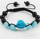 Shamballa Style Black Agate and Cat's Eye and Imitation Turquoise Flower Weaved Drawstring Bracelet